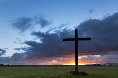 Flat Land Dawn Cross Royalty Free Stock Photography