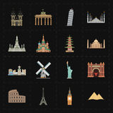 16 flat landmark icons. This is a vector illustration of 16 flat landmark icons royalty free illustration