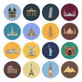 15 flat landmark icons. This is a vector illustration of 15 flat landmark icons vector illustration