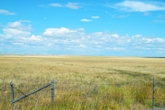 Flat lands and open fields in Montana. Fenced in flat lands in Montana stock images