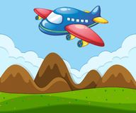 A flat landscape with airplane Royalty Free Illustration