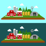 Flat landscape background with farn. Flat landscape background with farm yard and nature Stock Photo