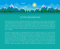 Flat landscape background. Forest and mountains. Vector website header image Stock Photo