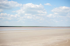 The flat landscape cloudy. With light clouds royalty free stock images
