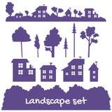 Flat landscape elements set in ultraviolet in vector EPS8. Flat landscape elements set with trees and bushes in ultraviolet in vector EPS8 Stock Photography
