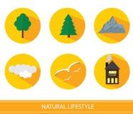 Flat Landscape icons Stock Image