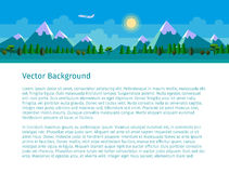 Flat landscape illustration. Forest and mountains. Blue sky, sun, clouds and plane. Website header. Text on white background Stock Image