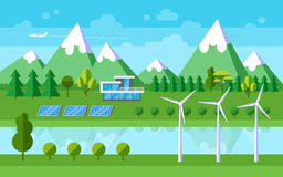 Flat landscape illustration. Green energy. Vector illustration Stock Photography