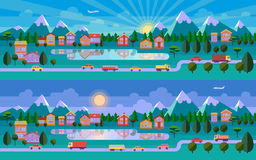 Flat landscape illustration. Morning and evening versions. Road, town, lake and mountains. Vector website header image or horizontal web banner Stock Photo