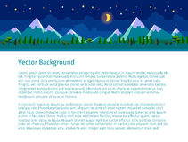 Flat landscape illustration. Night version. Website header. Text on white background Royalty Free Stock Photo