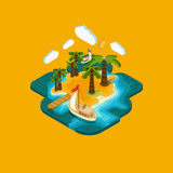 Flat landscape isometric concept а desert island Royalty Free Stock Photography