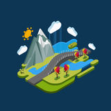 Flat landscape isometric concept nature with mountains, bridge and river. Royalty Free Stock Images