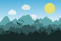 Flat landscape with mountains over the Moon. Vector illustration Royalty Free Stock Image