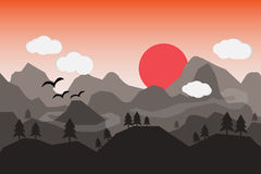 Flat landscape with mountains over the sun. Stock Images