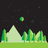 Flat landscape at night. Vector illustration Royalty Free Stock Photo