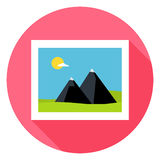 Flat Landscape Picture Circle Icon with Long Shadow Royalty Free Stock Images