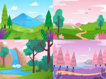 Flat landscape. Summer field nature, forest fauna and waterfall landscapes. Mountains and cloudy sky vector background royalty free illustration