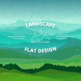 Flat landscape textured illustration. Beautiful hills, vector design Stock Image
