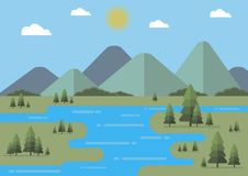 Flat landscape vector illustration with fir trees. Flat mountains and clouds. Editable. Flat landscape vector illustration with fir trees. Flat mountains, fir Stock Photo