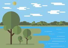 Flat landscape vector illustration with flat clouds, flat trees. Editable. Flat landscape vector illustration with flat clouds, sun, lake, river, flat trees Royalty Free Stock Photo