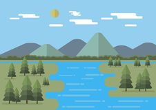 Flat landscape vector illustration with flat mountains, trees, sun and clouds. Editable. Flat landscape vector illustration with flat mountains, trees, sun Royalty Free Stock Photo