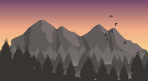 Flat landscape view. Beautiful minimalistic mountain view landscape with flying birds on sunset Royalty Free Stock Image