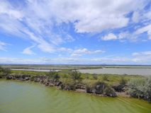Flat landscape of wetlands in France. The flat landscape and wetlands of the Camargue region of France royalty free stock photography