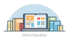 Flat laptop with book on screen vector. Illustration. Online education course and knowledge concept vector illustration