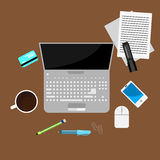 Flat laptop and office stuff clip art Royalty Free Stock Photography