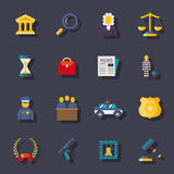 Flat law icons set Stock Photography