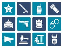 Flat law, order, police and crime icons Stock Images