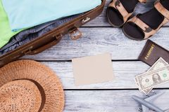 Flat lay accessoires to travel with man. royalty free stock images