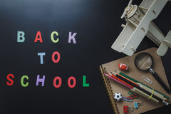 Flat lay of accessories decoration back to school or education concept royalty free stock image