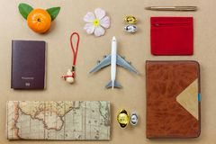 Flat lay of accessories travel and Chinese new year and Lunar new year festival Royalty Free Stock Image