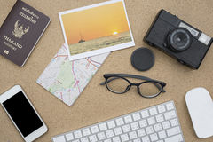 Flat lay of accessories on wooden desk Royalty Free Stock Photos