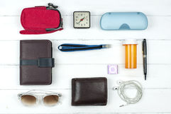 Flat lay accessories daily working. Stock Photo