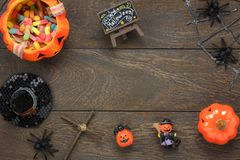 Flat lay of accessory decoration Happy Halloween festival background concept. Royalty Free Stock Photography