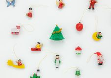 Flat lay aerial image of decorations Merry Christmas and Happy new year concept. Stock Photo