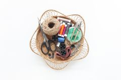 Flat lay aerial image of fashion designer items stock photos