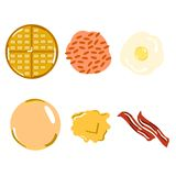 Flat Lay american classic breakfast. Icon Royalty Free Stock Photos