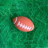 Flat lay of American football ball toy on grass abstract. stock images