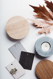 Flat lay of autumn grey and warm tone interior finishes Royalty Free Stock Images