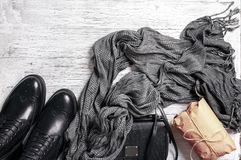 Flat-lay of autumn lady` s clothes Royalty Free Stock Photos