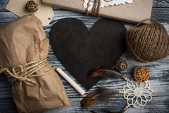 Flat lay background with christmas gift Stock Photography
