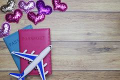 Flat-lay background for love couple traveling honeymoon concept for Valentine background. royalty free stock image