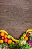 Flat-lay background made from organic fresh groceries Royalty Free Stock Photos