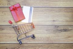 Flat-lay background shopping for love one concept for Valentine background royalty free stock image