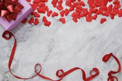 flat-lay background for Valentine's Day, love, hearts, gift box Copy space royalty free stock image