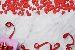 Flat-lay background for Valentine's Day, love, hearts, gift box Copy space royalty free stock photo