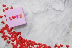 Flat-lay background for Valentine's Day, love, hearts, gift box Copy space stock images